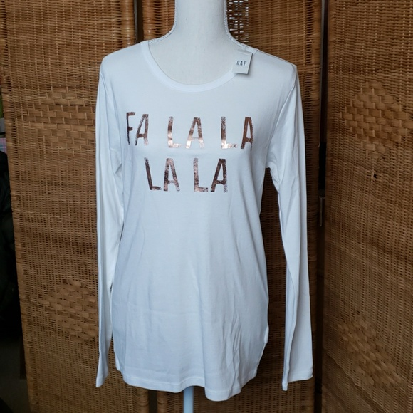 55cd949a655d97 Gap Crew New Shirt w FA LA LA LA LA Graphic. NWT
